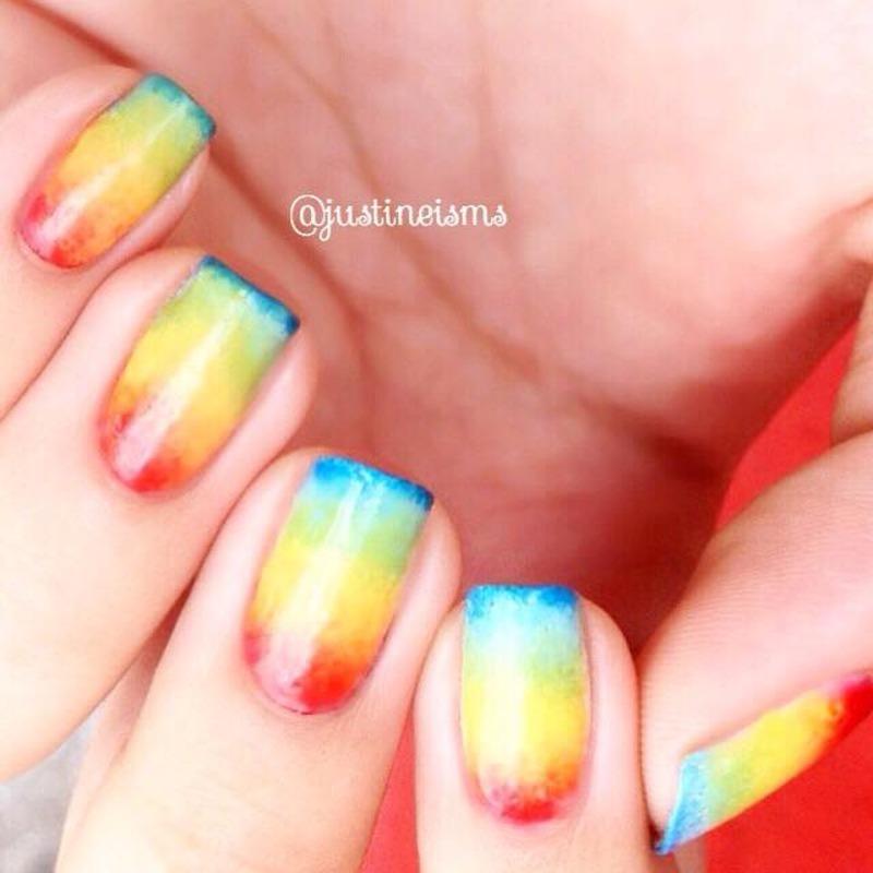 Rainbow Gradient nail art by ℐustine