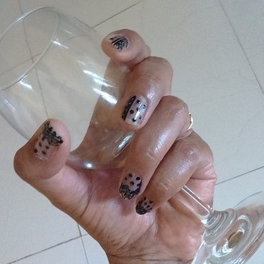 Black lace nails nail art by nail nakshi