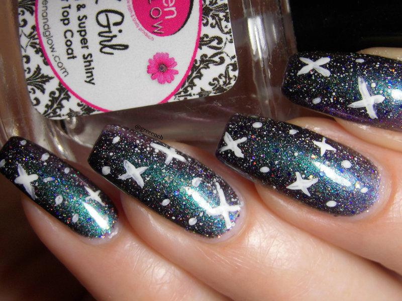Galaxy Nails nail art by greeench