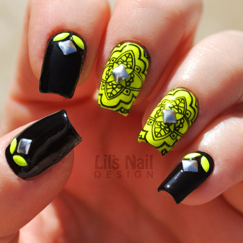 Yellow Fluorescent Flowers nail art by Lily-Jane Verezen