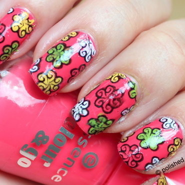 Flowerpower reverse stamping nail art by Polished Polyglot