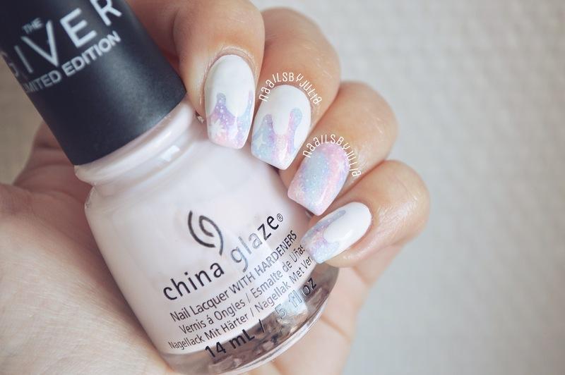 Dripping galaxy nail art by Julia