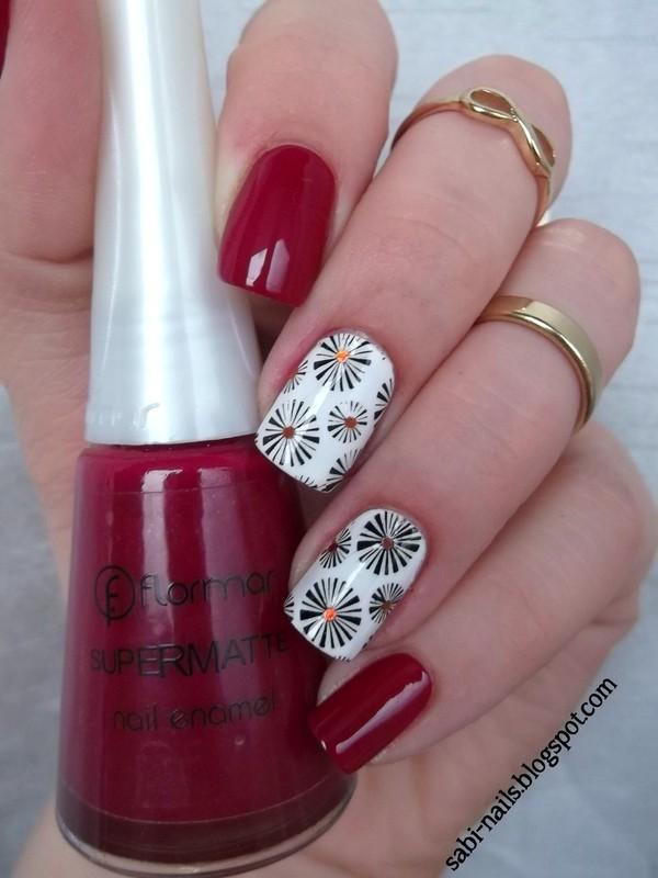 Red flormar nail art by Sabina