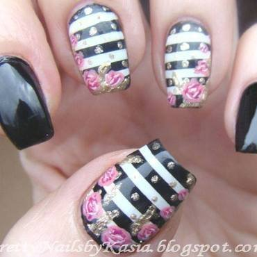 Stripes, dots & roses - inspired by Paulina's Passions nail art by Pretty Nails by Kasia