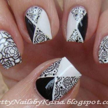 Black & white stamping nail art by Pretty Nails by Kasia