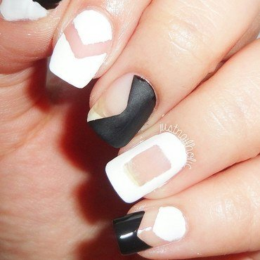 B&W Negative Space nail art by Melany Antelo