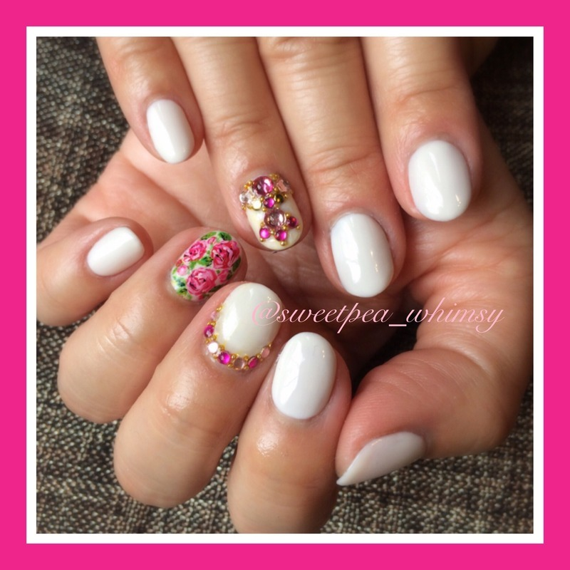 Dark Pink Roses & Jewels on Milky White nail art by SweetPea_Whimsy
