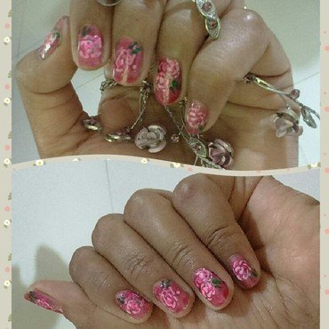 rose garden nail art by nail nakshi