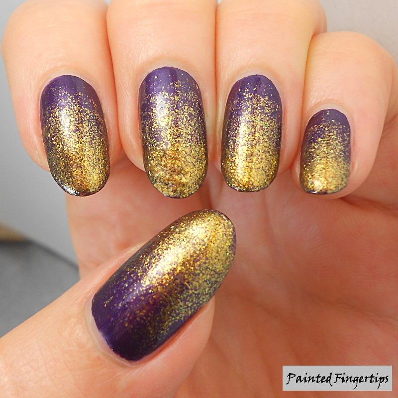 Golden Glitter Gradient nail art by Kerry_Fingertips