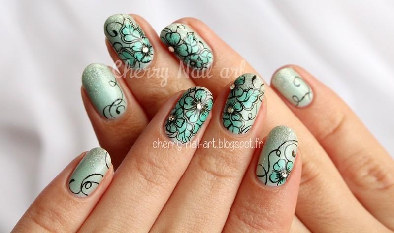 Nail art fleurs de printemps nail art by Cherry Nail art