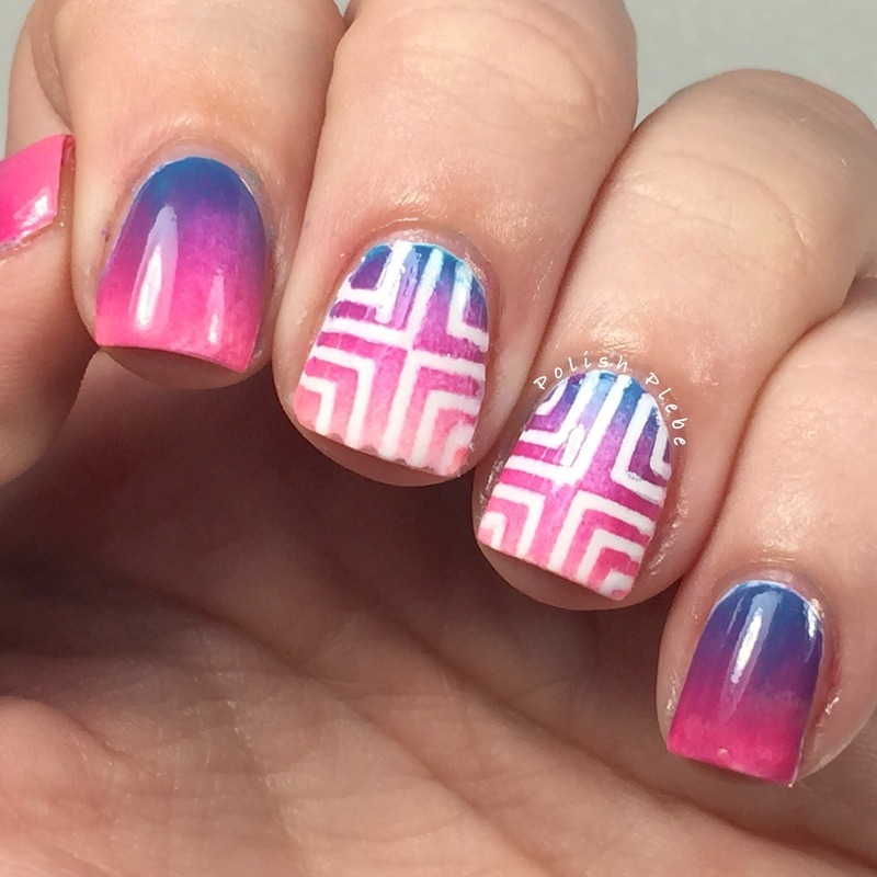 Geometric Gradient nail art by Crystal Bond