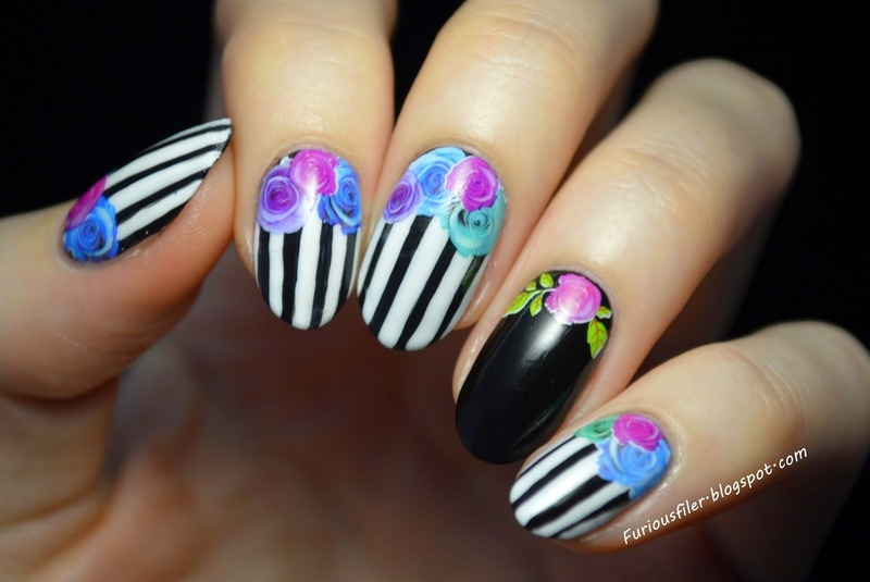 Vintage florals nail art by Furious Filer