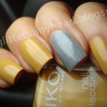 Ocher & Gray nail art by The Wonderful Pinkness