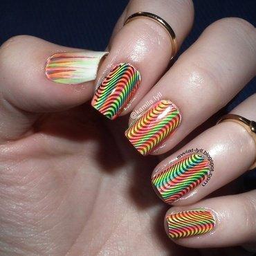 Neon rainbow op-art nail art by Kamila Olejnik