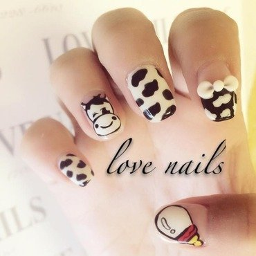 Milk Cow nail art by Ava Liu