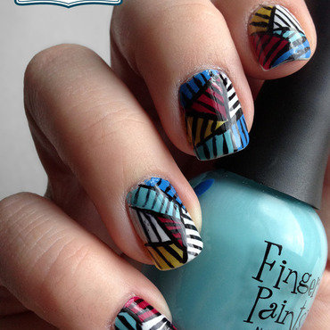 Colorful Geometric Nails nail art by Katie