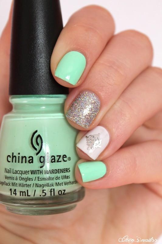 Neon mint skittlette nail art by Cocosnailss