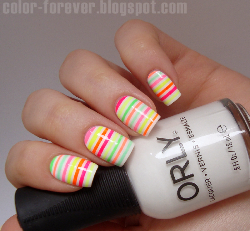 Nail Art Using Striping Tape: Neon Striping Tape Nail Art Nail Art By Ania