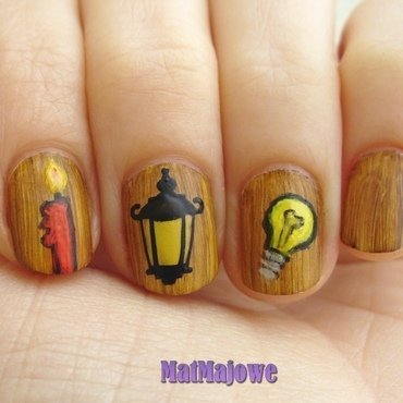 From candle to light bulb nail art by MatMaja