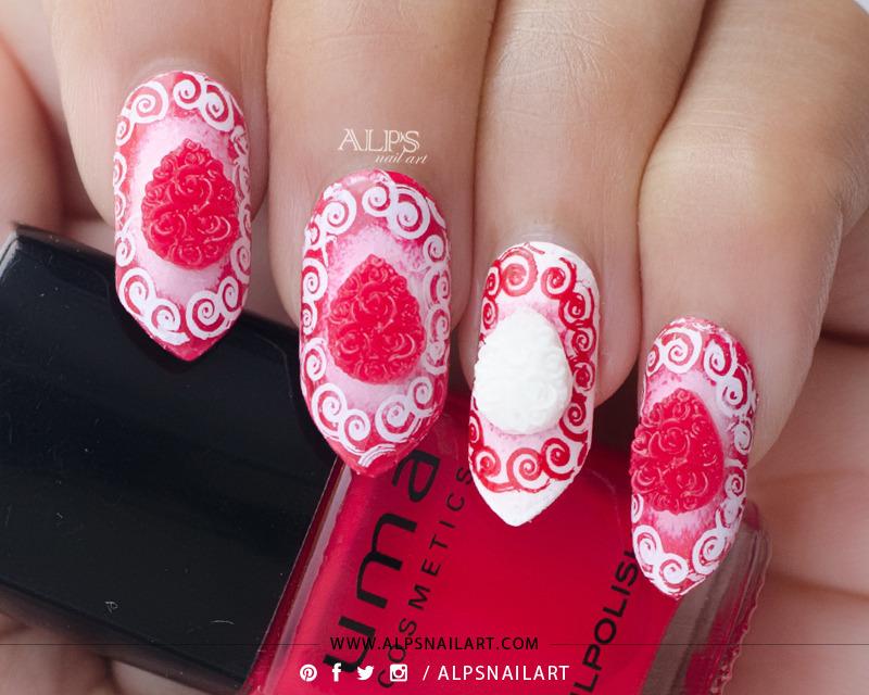3D Red rose bouquet nails by @alpsnailart nail art by Alpsnailart