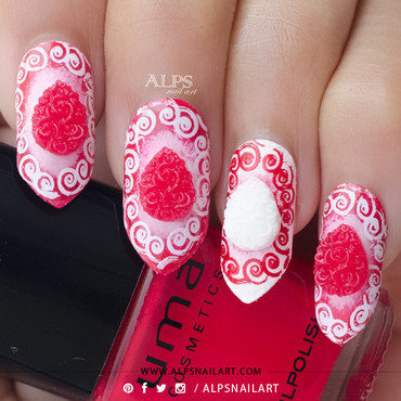 3D Red rose bouquet nails by @alpsnailart nail art by Alpsnailart