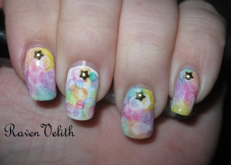 Pastel Rainbow Bubbles nail art by Lynni V.