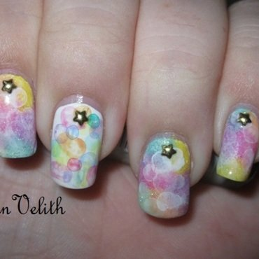 Pastel Rainbow Bubbles nail art by Lynni V.