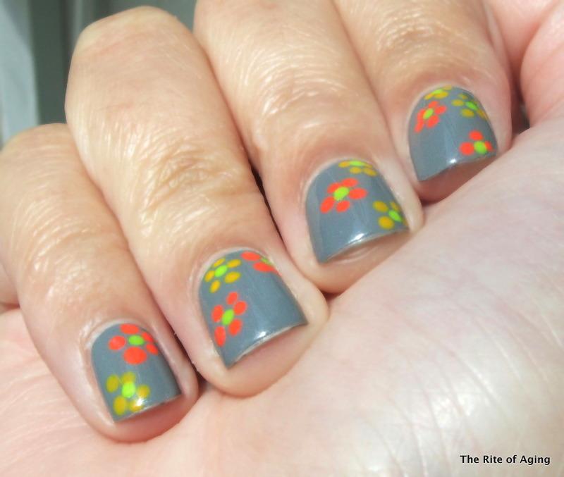 Neon Dotticure Flowers nail art by Monica