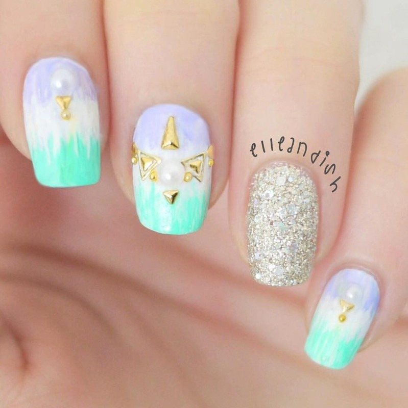 Tie Dye Nail Art with Studs nail art by elleandish