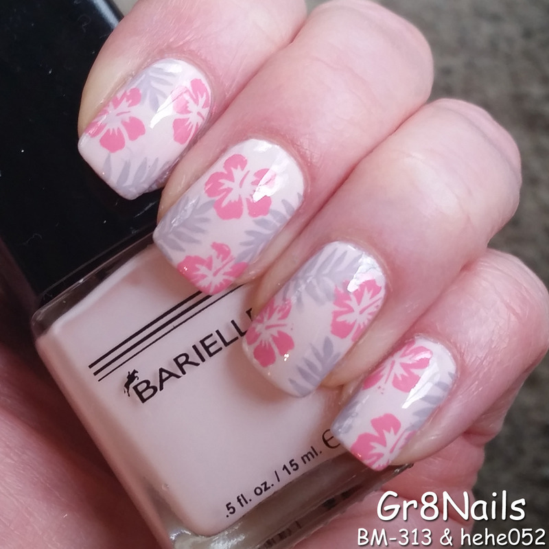 Pink Tropics nail art by Gr8Nails
