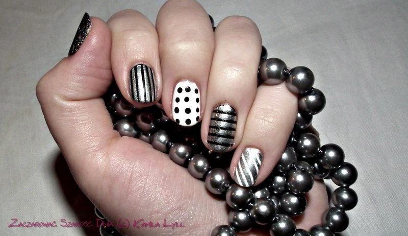 Black, silver and white nail art by Kamila Olejnik