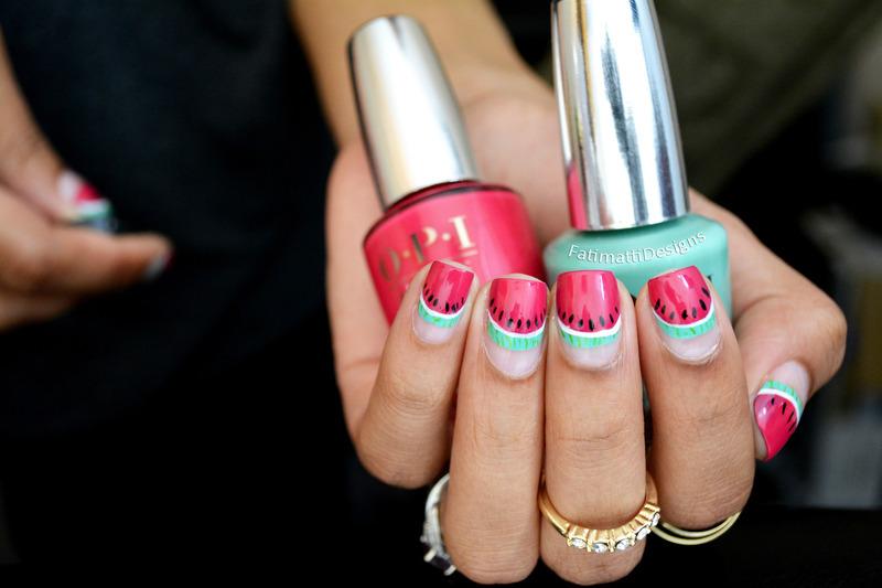 Watermelon Slice Tips nail art by Fatimah