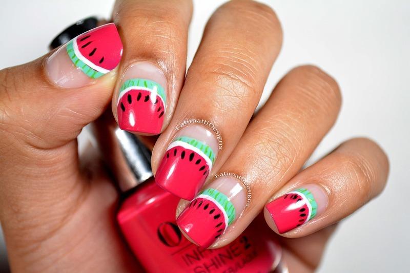 Watermelon Slice Tips Close nail art by Fatimah