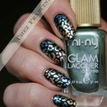 Metal Leopard nail art by Francine