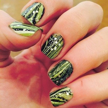 Green water marble nail art by Ashley