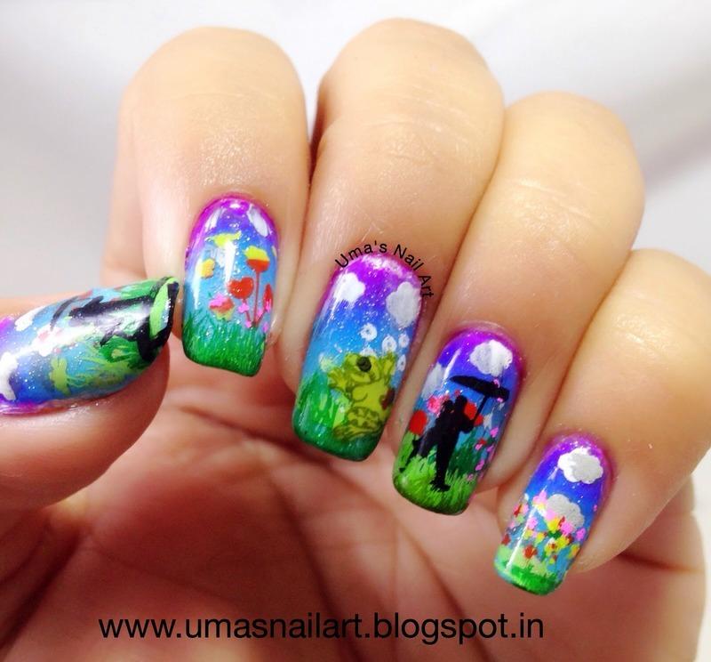April Shower Nails nail art by Uma mathur
