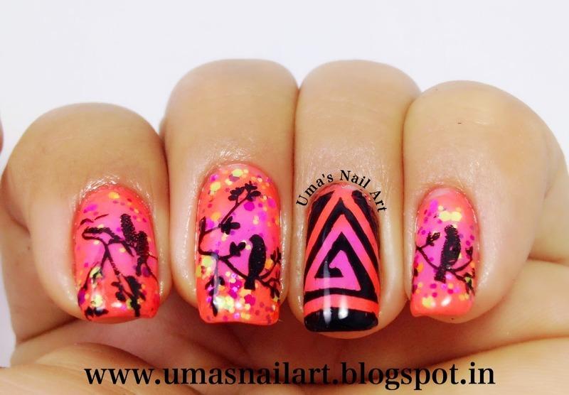 Neon Spring Nails nail art by Uma mathur