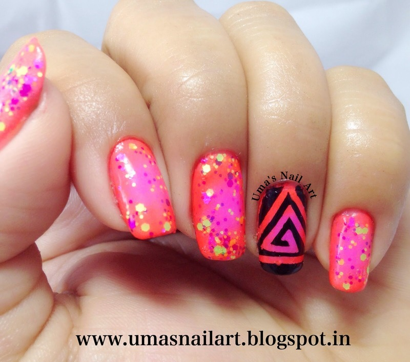 Neon Spring Nails nail art by Uma mathur