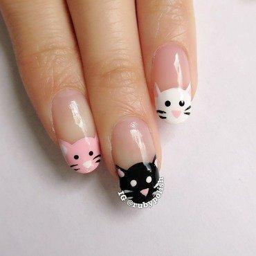 Kitty nails  nail art by Ruby