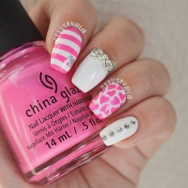 Pink hearts nail art by Julia