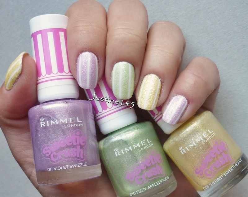 pastel stipes nail art by Justine145