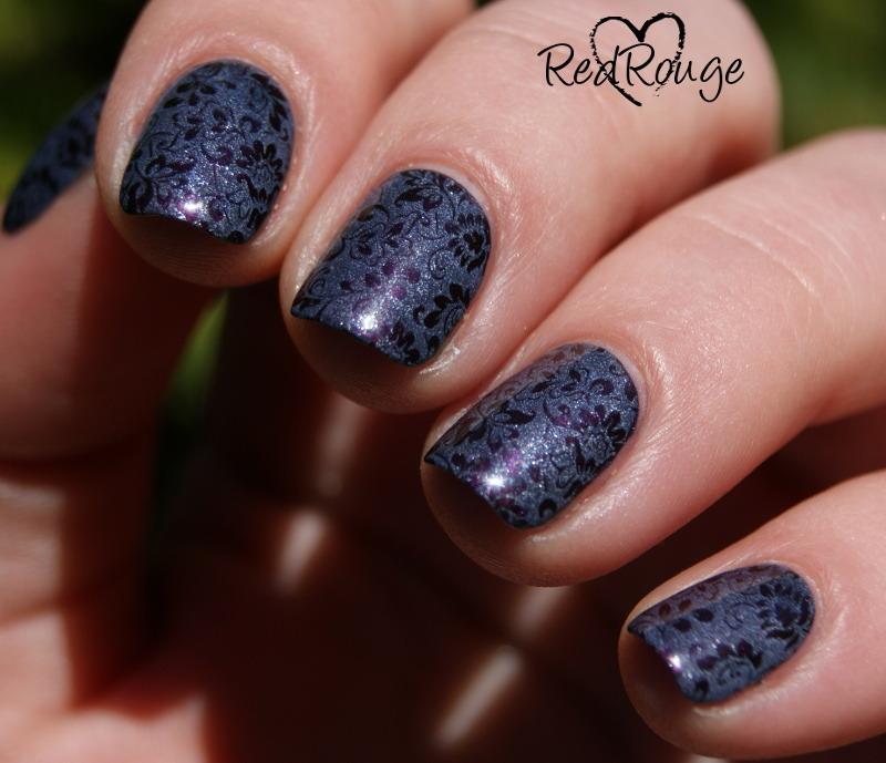 Elegant stamping nail art by RedRouge
