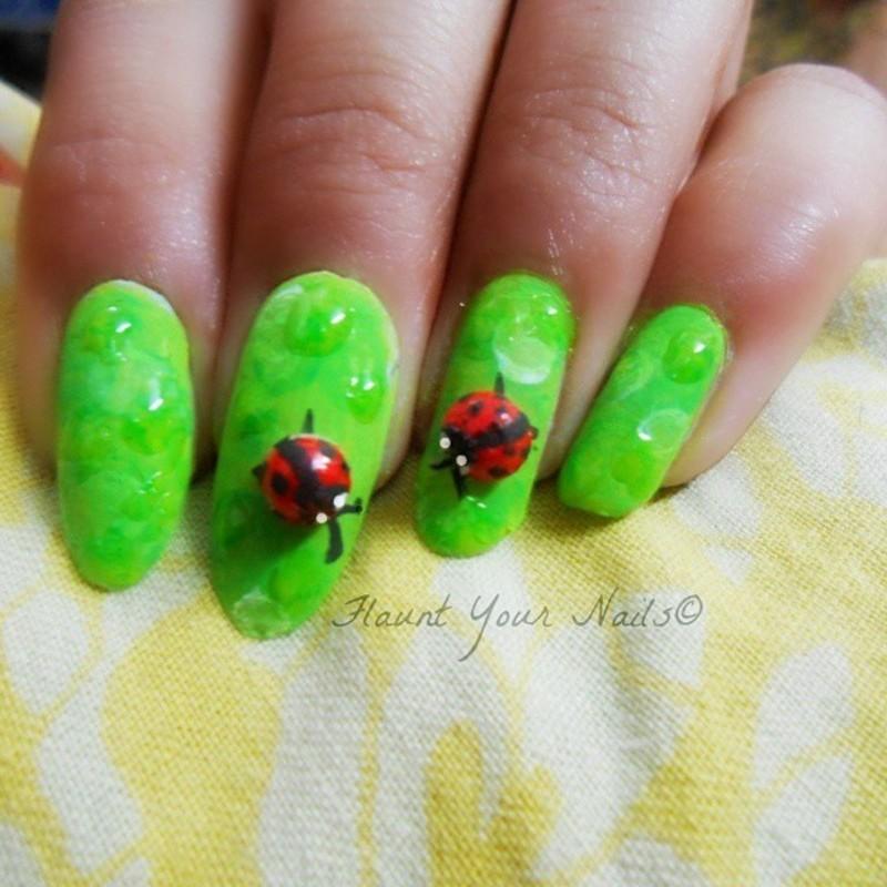 Lady bugs and Rain drops nail art by Vidula Kulkarni
