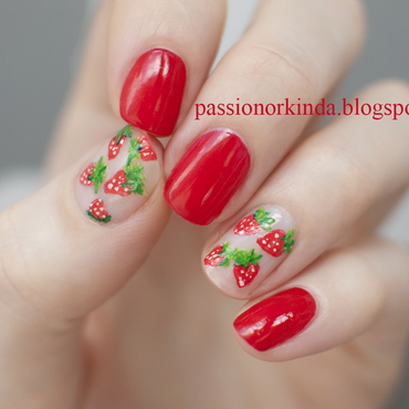 Strawberry accents nail art by Passionorkinda