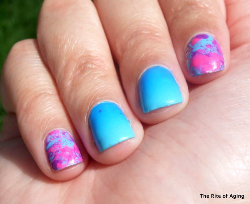 Neon Splatter and Gradient Nail Art nail art by Monica
