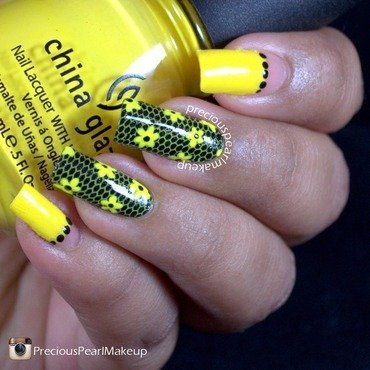 Yellow Floral nail art by Pearl P.