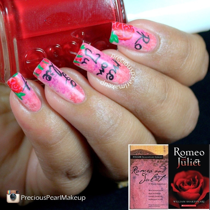 Romeo and Juliet Inspired Nails nail art by Pearl P.
