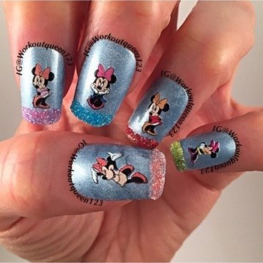 Disney Minnie Mouse nail art by Workoutqueen123