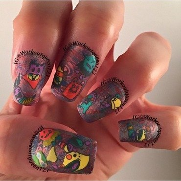 Little critter from outer space nail art by Workoutqueen123