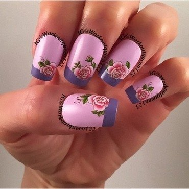 French mani with roses nail art by Workoutqueen123